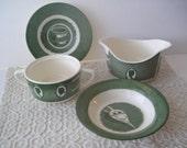 Green Transferware Colonial Homestead Royal USA China Gravy Boat Sugar Bowl Saucer Dessert Bowl