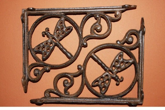 ON SALE 2)pcs, Dragonfly Patio Decor Cast Iron Shelf