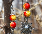 Silver Tibetan Sun Charm with Red & Yellow Tie Dye Glass Bead Earrings