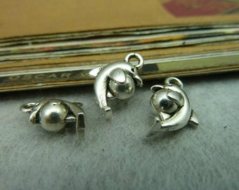 50pcs 6x10x15mm The Dolphins  Silver White Color Charm For Jewelry Pendant C5573