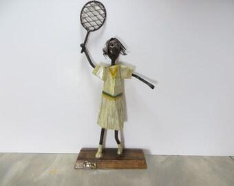 Manuel Felguerez Tennis Player Metal Art Paper Mache Art Spanish Art Modern Art Metal Sculpture