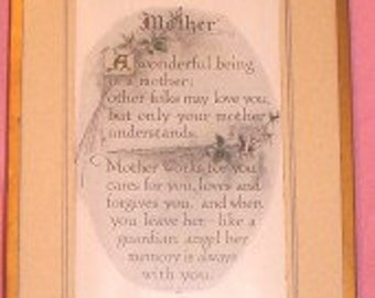 "Art ""Mother"" A 1913 framed poem by BJB Wall Hanging Picture"