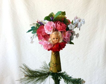 Bouquet Tree Topper, Christmas Doll tree topper, roses bouquet, pink and red