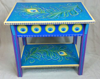 SOLD- Hand Painted Peacock Feather Side Table  FREE SHIPPING!