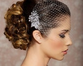 Bridal Veil and Bridal Comb, Bandeau Birdcage Veil, Bird Cage Veil - QUICK SHIPPPER - With Rhinestone Fascinator Comb - The Veronica Veil