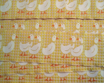 "SALE 50% OFF Trim Yellow/Orange Gingham with White Geese 2""width Country Style 10yds"