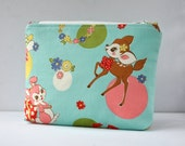 Womans padded retro 50s pop woodland deer and duck cosmetics make up pouch in aqua blue in large.