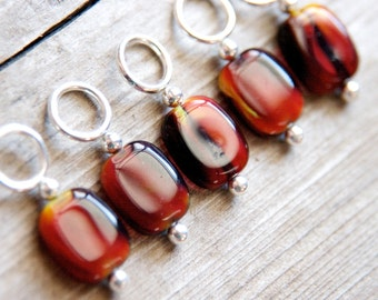 Glass Stitch Markers in Reddish Brown, Black and Yellow, Set of 5, Snag Free