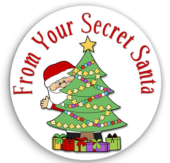 Secret Santa Stickers Christmas Gift Tags by MoonLitPrintables