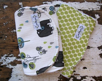Baby Burp Cloths - Honey Bears and Lime Moon - Set of 2 - Brown, Lime Green, Grey - Gender Neutral Boy or Girl