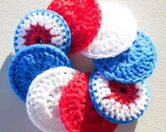Crochet Dish Scrubbies - Set of 8 - The Patriot Collection - Nylon Pot Scrubbers
