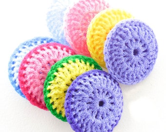 Crochet Nylon Dish Scrubbies - Set of 8 - Pastel Collection - Pot Scrubber