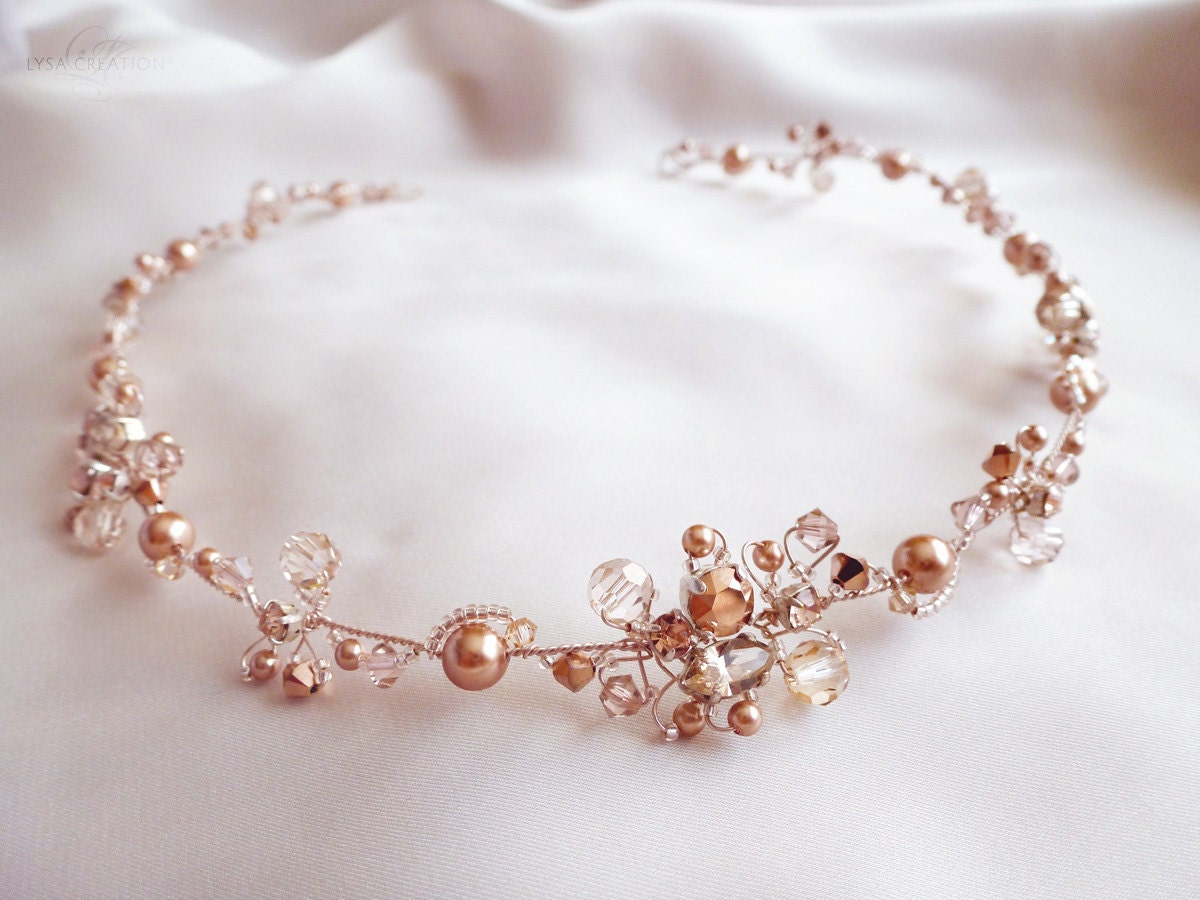 Rose Gold Crystal Bridal Headband Sparkling Rose Gold