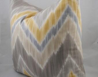Ready to Ship-Beautiful Decorative Pillow Cover-20x20 Ikat -Cheveron Print- Designer Fabric-Grays, White & Golds