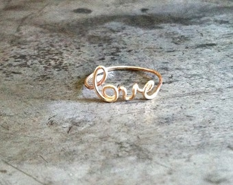Love ring, 14k gold filled, hammered skinny stack ring