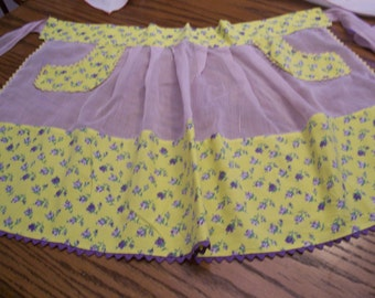 1950s Handkerchief Apron Sheer with Yellow and Violet