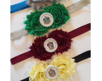Harry Potter Hogwarts House Colors Shabby Chic Headband-Harry Potter- Gryffindor, Slytherin, Hufflepuff or Ravenclaw