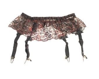 """Vintage Black And Copper Lace Suspender, Garter Belt. Waist Circumference: 22 - 32"""""""