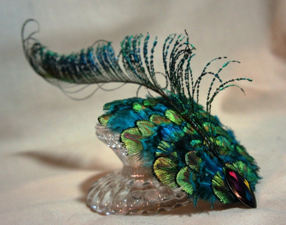 Peacock Feather Hair Clip / Fascinator / Head Piece / Peacock Plumage / Peacock Feather Sword