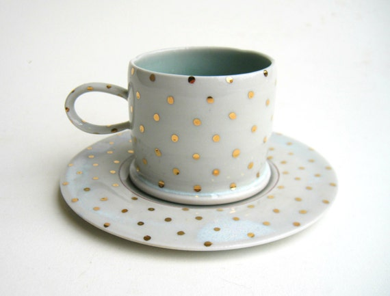MADE TO ORDER Gold Polka Dot Cup and Saucer Set