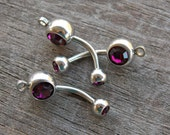 3 Dark Purple Crystal Belly Button Rings with Loop to Add Charm 14 Gauge 304 Surgical Steel