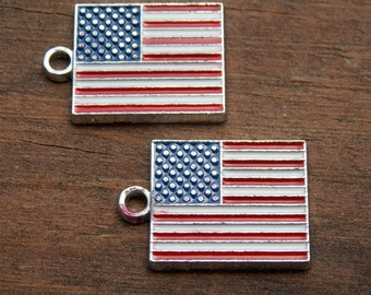 3 American Flag Charms Enamel and Silver 22mm