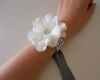 Ivory Hydrangea Wrist Corsages