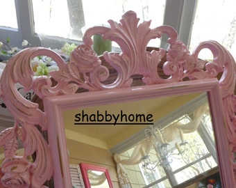 Large Vintage mirror French baroque Baby girl, decorative baby nursery wall framed mirror