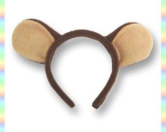 """Brown Teddy Bear Ears Headband - 1/2"""" Flexible Band AntiPill Fleece Tan Child Teen Adult Geek Summer Cute Kawaii Anime Cosplay Animal"""