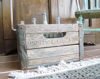 Wooden soda crate, industrial loft home furnishing, soda bottle carrier, Americana, 1930s bottle carrier.