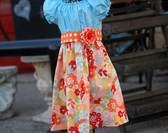Spring Pastel Bouquet Sash Peasant Dress
