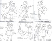 c1915 Mother Goose Rhymes -redwork outlines embroidery pattern BBC20s