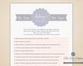 He Says She Says, Printable and Personalized Bridal Shower Game