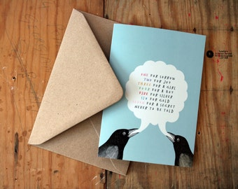SALE - SEL - One for Sorrow Two for Joy Magpie Blue Eco Friendly Art Greeting Card