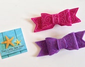 Embroidered Felt Swirl Bow Clips, Set of 2, 2 Sizes Available