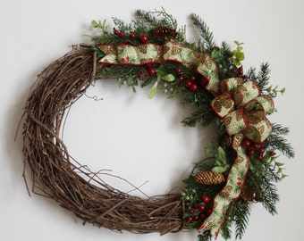 Holly Pinecone Christmas Wreath Rustic Door Wreath Woodland Holiday Wreath (FW133)