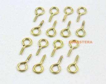 200Pcs 7x14mm Eye Screw Gold Screw Eye Pins (JS-YY4)