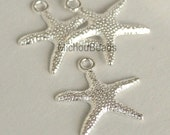 5 SILVER STARFISH Charm Pendants - 19mm Bright Silver Stars - Ocean Beach Boho Nautical Charms - USA Wholesale Charms - Instant Ship - 5497