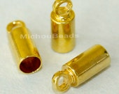 6 GOLD 9x3.5mm Glue in Cord END Tip Tube w/ Loop - 3.1mm Inside Hole - Nickel Free Barrel End Tip up to 3mm Cord Leather - USA - 5546