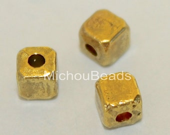 5 Brushed Antiqued Brass Gold 4mm CUBE Seed Bead - 4x4mm w/ Large 1.5mm Hole Boho Tibetan Style Square Spacer Nickel Free Metal Beads - 5635