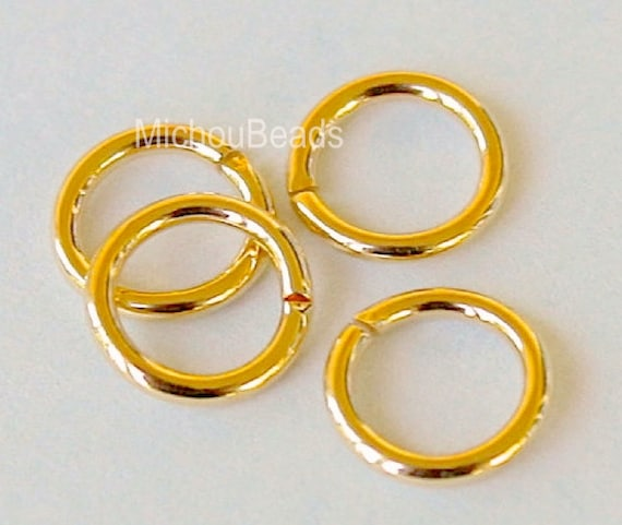 25 GOLD 7mm Open JUMPRINGS - 18 gauge 7mm Smooth Bright Gold Unsoldered Jumpring Brass Connector Findings - Instant Ship from USA - 5487