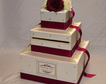 Elegant Custom made Ivory/Burgundy(Deep Red)Wedding Card Box-any colors-crystal details