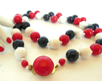"Vintage Mod Necklace Enameled Plastic Strand Red White Blue Beads 28"" 60's (item 217)"