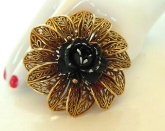 Vintage Brooch Halloween Black Rose Plastic Gold 50's (item 169)