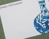 Chinoiserie Blue and White Vase Personalized, Flat Note Style 15 per Set.