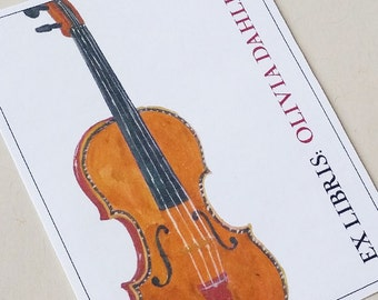 Violin  Bookplate Personalized for the Music Lover  - Set of 24