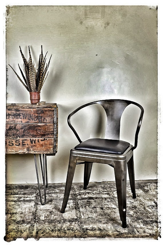 Custom Upholstered Seat Cushion Tolix Style Armchair Gunmetal or Vintage Gunmetal:  in the Fabric of Your Choice
