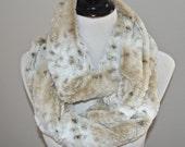 Faux Fur Scarf - Minky Infinity Scarf  -   Snow Leopard  Minky -  Warm and Soft - Loop Scarf, Circle  Scarf