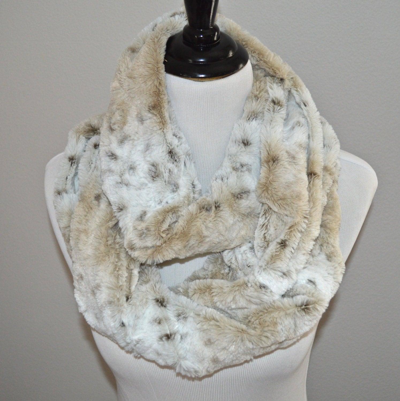 Faux Fur Scarf Minky Infinity Scarf Snow Leopard Minky