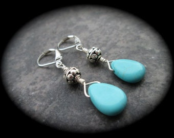 Turquoise Leverback earrings with Bali style silver beads and Turquoise briolettes